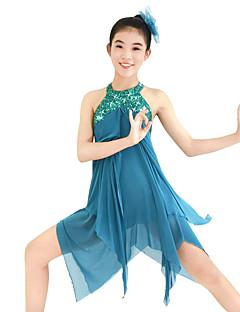 cheap Ballet Dance Wear-Ballet Dresses Sequins Women's Performance Elastic Sequined Lycra Paillette Sleeveless Dress Headwear