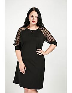 billige Kjoler-Dame Plusstørrelser Skift Kjole - Ensfarvet Ruder, Net