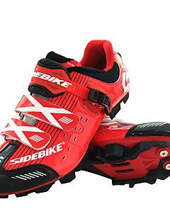 billiga Cykling-SIDEBIKE Vuxna MTB-skor Kolfiber Stötdämpande Cykelsport Rödsvart Herr / Andningsbart Nät / Krok och ögla
