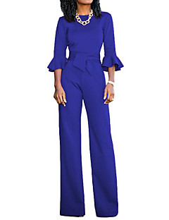 Women's Casual/Daily Simple Solid Round Neck Jumpsuits,Loose Half Sleeves Fall Polyster