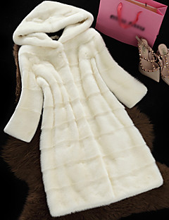 Women's Going out Simple Casual Winter Fall Fur Coat,Solid Hooded Long Sleeve Regular Polyester Fur Trim