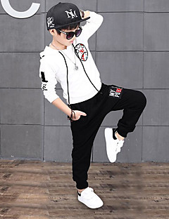 Boys' Solid Cartoon Clothing Set,Cotton Spandex Spring Fall White Black