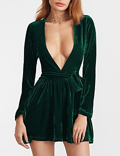 Women's Going out Club Sexy Simple Sheath Dress,Solid Deep V Mini Long Sleeves Polyester Spring Fall High Rise Micro-elastic Medium