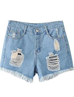Dámské Mikro elastické Džíny Kraťasy Kalhoty Štíhlý Mid Rise Jednobarevné