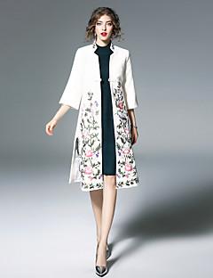 Damen Blumenmuster Chinoiserie Ausgehen Lässig/Alltäglich Trench Coat,Ständer Winter ¾ Ärmel Lang Wolle Polyester Stickerei