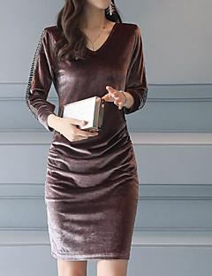 お買い得  レディースドレス-女性用 プラスサイズ スリム シース ドレス - プリント 膝上 Vネック ブラック / 秋