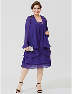 Plus Size A-Line Scoop Neck Knee Length Chiffon Mother of the Bride Dress  with Beading Sequin Tiered by LAN TING BRIDE® d32d76817a80