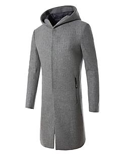 メンズ カジュアル/普段着 秋 冬 コート,シンプル フード付き ソリッド ロング ウール レーヨン 長袖