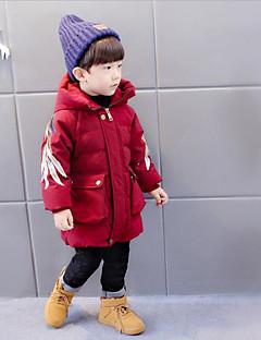 billige Jakker og frakker til drenge-Drenge dun- og bomuldsforet Ensfarvet Sort Rød