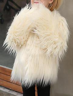 billige Jakker og frakker til piger-Pige Jakke og frakke Ensfarvet, Imiteret pels Speciel pelstype Vinter Langærmet Grøn Lyserød Beige