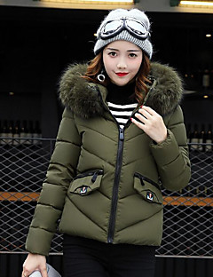 Damen Daunen Mantel Zeitgenössisch Ausgehen Solide-Polyester Polypropylen Langarm