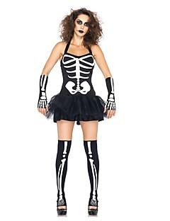 billige Halloweenkostymer-Skjelett / Kranium / Ghostly Bride Kostume Dame Halloween / De dødes dag Festival / høytid Halloween-kostymer Svart Vintage
