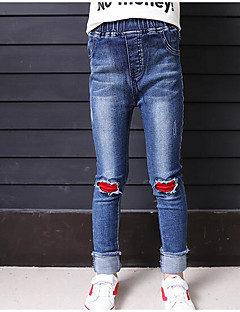 Girls' Color Block Jeans,Cotton Fall Blue