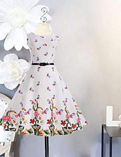 halpa -Tytön Yhtenäinen Kukka Painettu Mekko Syntymäpäivä Bile Loma Puuvilla Polyesteri Kevät Kesä Hihaton