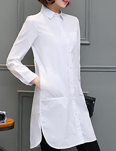 Women's Daily Going out Plus Size Street chic All Seasons Shirt,Solid Shirt Collar Long Sleeves Others