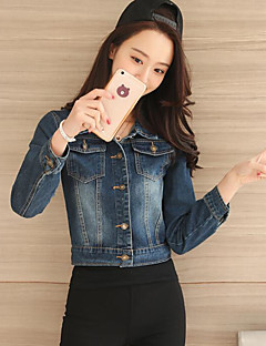 Women's Going out Street chic Fall Denim Jacket,Solid Shirt Collar Long Sleeve Regular Others