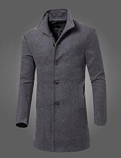 Masculino Casaco Longo Casual Trabalho Simples Activo Outono Inverno,Sólido Longo Algodão Colarinho de Camisa Manga Longa
