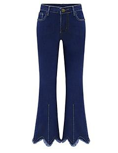 billige Kvinde Underdele-Dame Sødt Gade Plusstørrelser Bootcut Jeans Bukser Ensfarvet