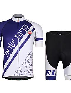 חולצת ג'רסי ומכנס קצר לרכיבה יוניסקס שרוולים קצרים אופניים ג'רזי מדים בסטים משקל קל טרילן LYCRA® מכתב ומספר קיץ רכיבה על אופניים/אופנייים