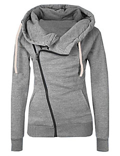 Women's Daily Going out Casual Active Sexy Hoodie Jacket Solid Hooded Without Lining Micro-elastic Polyester Winter Fall