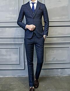 Erkek Polyester Uzun Kol Çentik Yaka Sonbahar Kış Desen Basit Günlük/Sade Normal-Erkek Takım Elbise