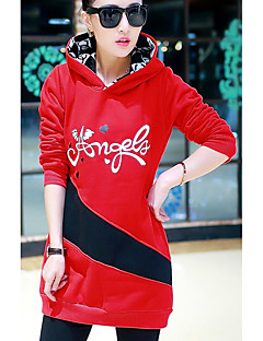 Women's Casual/Daily Simple Hoodie Letter Hooded Micro-elastic Polyester Long Sleeve Fall