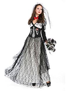 Skjelett / Kranium Zombie Drakter Kvinnelig Halloween De dødes dag Festival / høytid Halloween-kostymer Svart Stribe Vintage