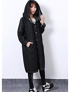 お買い得  レディースブレザー&ジャケット-女性用 日常 冬 ロング デニムジャケット, 活発的 フード付き ソリッド ナイロン