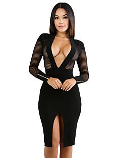 Damen Bodycon Kleid-Klub Sexy Solide V-Ausschnitt Knielang Langarm Polyester Elasthan Herbst Hohe Hüfthöhe Dehnbar Mittel