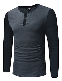 Men's Daily Active Shirt,Color Block Shirt Collar Long Sleeves Cotton 20D