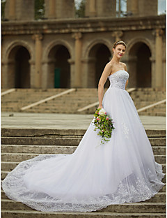 cheap Wedding Dresses-Ball Gown Strapless Cathedral Train Satin Tulle Beaded Lace Custom Wedding Dresses with Beading Appliques by LAN TING BRIDE®