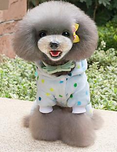 billiga Hundkläder-Hund Pyjamas Hundkläder Prickig Gul / Blå Plysch / Ner Kostym För husdjur Ledigt / vardag
