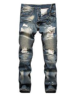 billige Herrebukser og -shorts-Herre Store størrelser Jeans Bukser Ensfarget