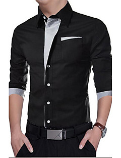 Men's Daily Casual Spring Fall Shirt,Solid Shirt Collar Long Sleeves Polyester Medium