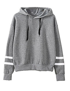 Women's Going out Hoodie Solid Hooded Inelastic Polyester Long Sleeve Fall
