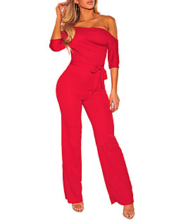 Women's Casual/Daily Club Simple Sexy Solid One Shoulder Jumpsuits,Wide Leg ¾ Sleeve Spring Fall Polyester