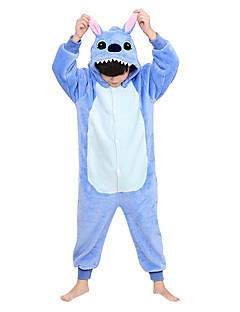 Kigurumi Pajamas Monster Costume Blue Flannel Kigurumi Leotard / Onesie Cosplay Festival / Holiday Animal Sleepwear Halloween Patchwork