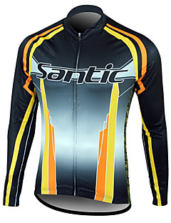 SANTIC-Men's Cycling Jersey / Cycling Jacket Fleece Lining Warm Long Sleeve 100% Polyester Winter