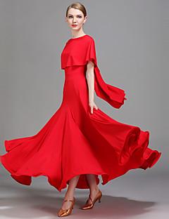 Dança de Salão Vestidos Mulheres Apresentação Seda Sintética Plissado Natural Vestido