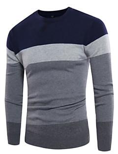 tanie Męskie swetry i swetry rozpinane-Męskie Classic & Timeless Okrągły dekolt Pulower - Styl artystyczny, Wielokolorowa Długi rękaw