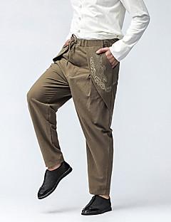 billige Herrebukser og -shorts-Herre Store størrelser Fritid Chinoiserie Mikroelastisk Harem Løstsittende Chinos Bukser, Mellomhøyt liv Bomull Broderi Alle årstider