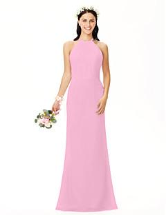 tanie Romantyczny róż-Ołówkowa / Kolumnowa Zaokrąglony Sięgająca podłoża Szyfon Sukienka dla druhny z Plisy przez LAN TING BRIDE®