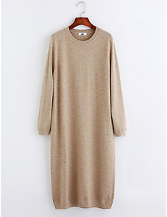 baratos Suéteres de Mulher-Mulheres Manga Longa Longo Pulôver - Sólido