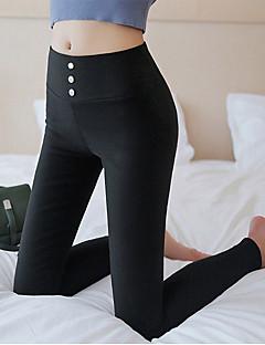 baratos Leggings para Mulheres-Mulheres Sólido Média Cor Única Legging, Branco Preto
