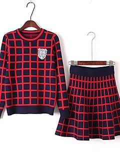レディース カジュアル/普段着 スカート スーツ,シンプル カラーブロック ビーズ プリーツ マイクロエラスティック