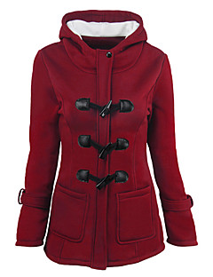 Women's Daily Holiday Street chic Winter Fall Jacket,Solid Hooded Long Sleeves Regular Polyester