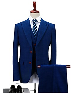Blue Plaid/Checkered Standard Fit Polyester Suit - Peak Single Breasted Two-buttons