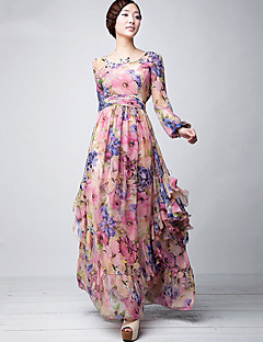 Women's Daily Swing Dress,Floral Round Neck Maxi Long Sleeve Polyester Fall Mid Rise Micro-elastic Thin