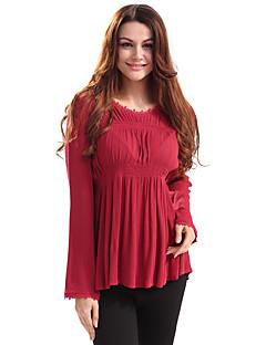 Feminino Camiseta Feriado Casual Vintage Moda de Rua Primavera/Outono Primavera/Outono/Inverno/Verão,Sólido Vintage Algodão Poliéster