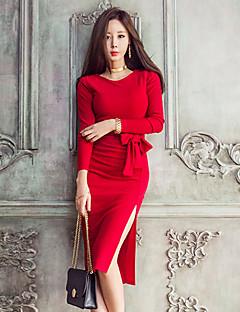 رخيصةأون موضة و ملابس النساء-طول الركبة سادة - فستان غمد للمرأة